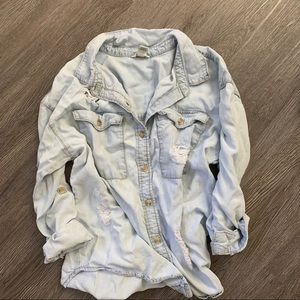 Forever 21 Tops - Forever21 Denim Distressed Button Shirt